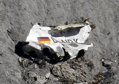 Wreckage of the Airbus A320 is seen at the site of the crash, near Seyne-les-Alpes